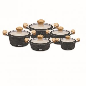 سرویس قابلمه نانو گرانیت مشکی دلمونتی مدل Cookware Set DL 1150 10PCS