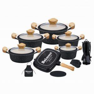 سرویس قابلمه نانو گرانیت مشکی دلمونتی مدل Cookware Set DL 1150 22PCS