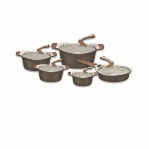 سرویس قابلمه نانو گرانتیت قهوه ای دلمونتی مدل Cookware Set DL 1160 10PCS