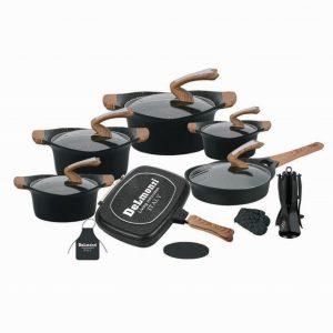 سرویس قابلمه نانو گرانتیت مشکی دلمونتی مدل Cookware Set DL 1160 22PCS